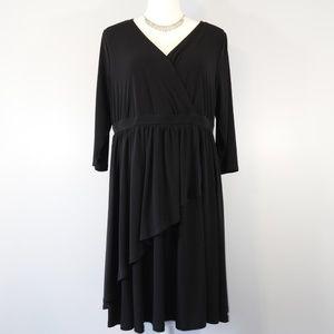 Torrid Black Faux-Wrap Sheath Dress - 1X/14-16